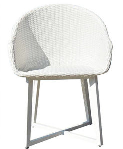 Modern White Aluminum Wicker Dining Chair