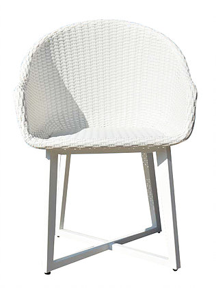 Modern White Aluminum Wicker Dining Chair Contract Hotel