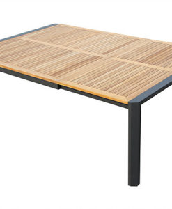 Modern Aluminum Teak Extendable Dining Table