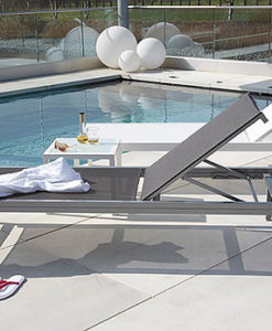 Modern Stackable Aluminum Textile Chaise Lounger