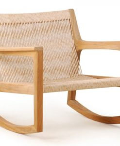 Modern Rattan Weaving Teak Rocking Chair