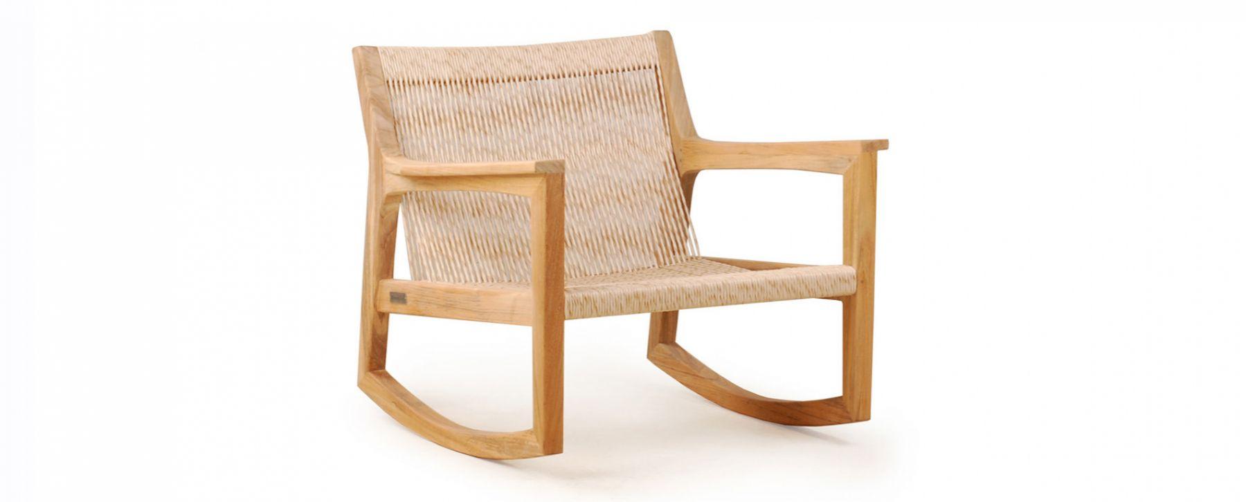 Modern Rattan Weaving Teak Rocking Chair Rope Pool