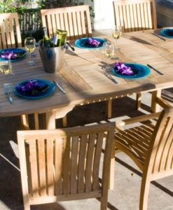 Becker Oval Dining Table Extendable Traditional Teak Outdoor Patio Furniture Restaurants