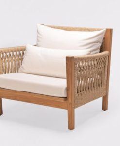 Leo Club Chair Traditional Rope Patio Hotel Lounging Outdoor Furniture