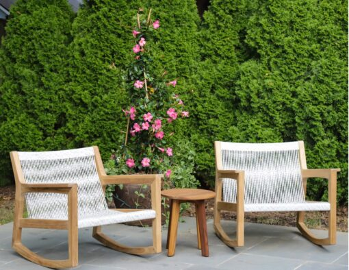 teak rope weave wicker rocking chair hotel commercial hospitality luxury residential