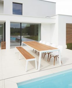 Modern Aluminum Teak Extra Long Dining Table