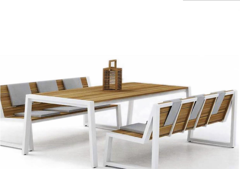 Modern Aluminum Teak Extra Long Dining Table Farm House