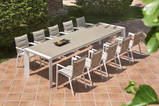 Alchemy Dining Table Modern Glass Extendable Teak all Weather Batyline Aluminum Contract Hospitality Outdoor Furniture