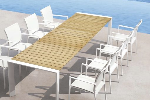 Alchemy Teak Dining Table Modern Glass Extendable Teak all Weather Batyline Aluminum Contract Hospitality Outdoor Furniture