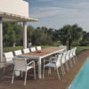 Alchemy Teak Dining Table Modern Glass Extendable all Weather Batyline Aluminum Contract Hospitality Outdoor Furniture