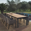 Alchemy Teak Dining Table Modern Glass Extendable all Weather Batyline Aluminum Contract Hospitality Outdoor Furniture 4