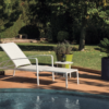 August Extendable Chaise lounger chair Aluminum outdoor furniture modern contract hospitality