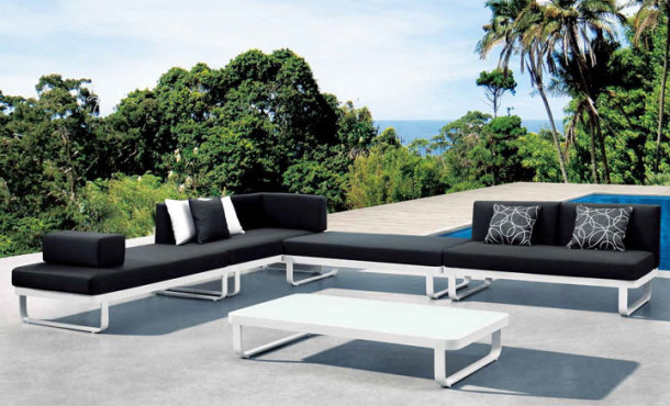 Averon Black Hospitality Contract Modern Outdoor Modular Sofa Sleek Stile