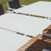 Averon contemporary modern outdoor living white extendable dining table contract hospitality hotel restuarant beach club house miami fl hamptons ny los angeles ca
