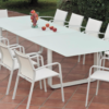 Averon contemporary modern outdoor white glass extendable dining table 12 people contract hospitality hotel restuarant beach club house miami fl hamptons ny los angeles ca