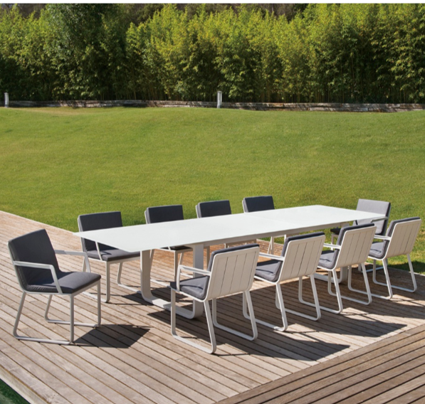 Averon Contemporary Modern Outdoorwhite Extendable Dining Table 12 Person  Contract Hospitality Hotel Restuarant Beach Club House