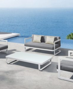 Averon modern white grey cushion outdoor sofa club lounge chair chaise