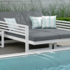 Modern White Aluminum Multipurpose Double Chaise Lounger