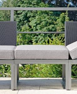 Contemporary Powder Coated Aluminum Textilene Multi Function Sectional Sofa