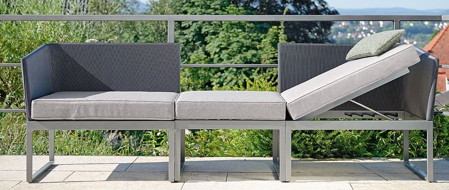 Balcony multi fuction sofa chaise lounge terrace aluminum outdoor furniture stock