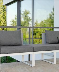 Modern Aluminum Textilene Outdoor 3 Seater Sofa