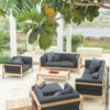 Modern Teak Cushion 2 Seater Sofa
