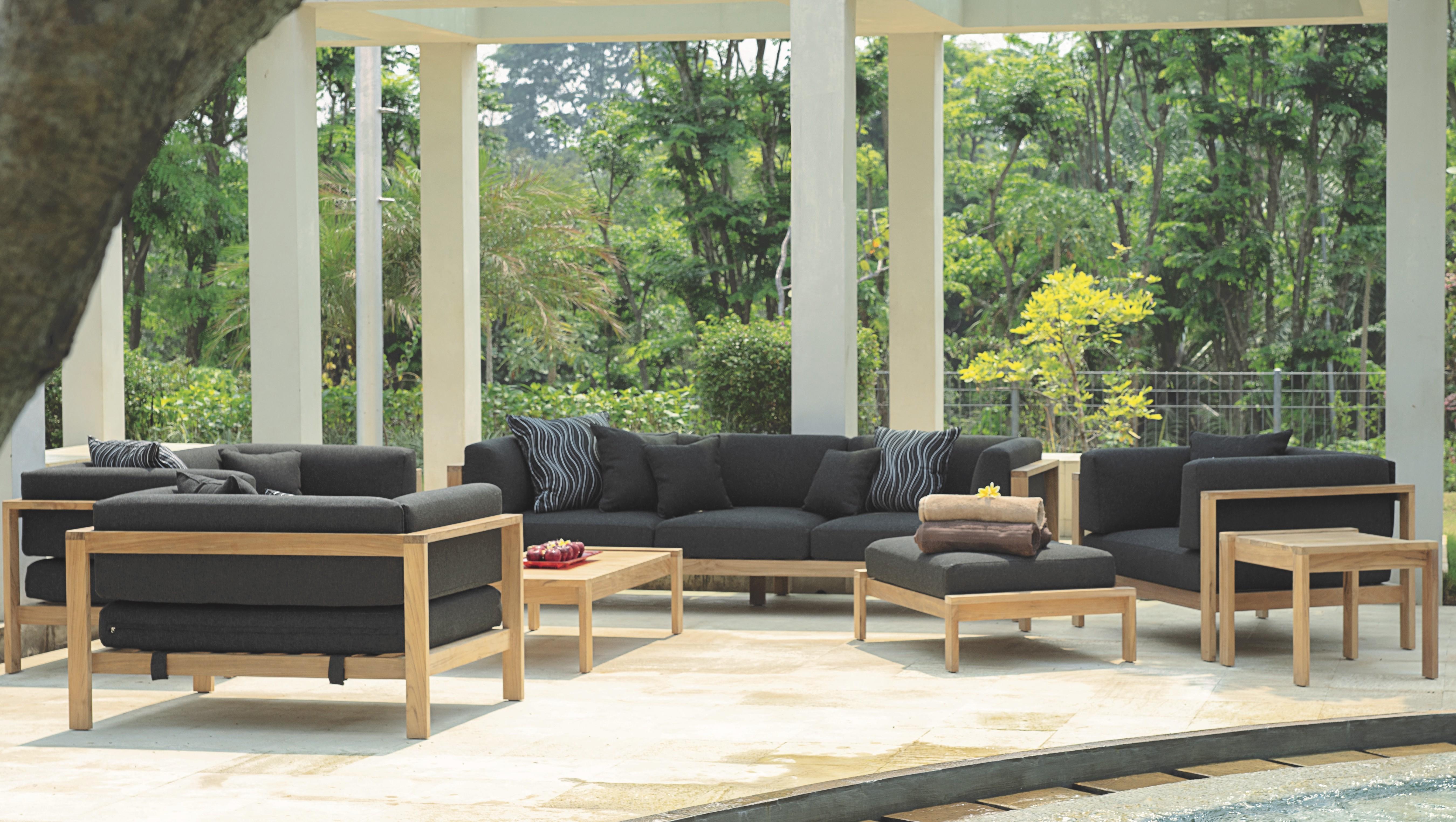 Modern Teak Cushion 3 Seater Sofa