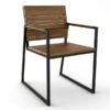 Modern Teak Aluminum Slats Dining Chair
