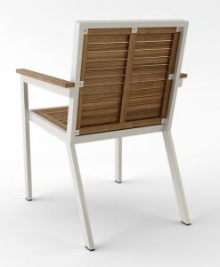 Bermudafied-Sleek teak white black Dining Arm Chair Wood-1