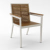 Contemporary Teak Black White Dining Chair