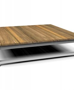 Modern Teak White Black Aluminum Coffee Table