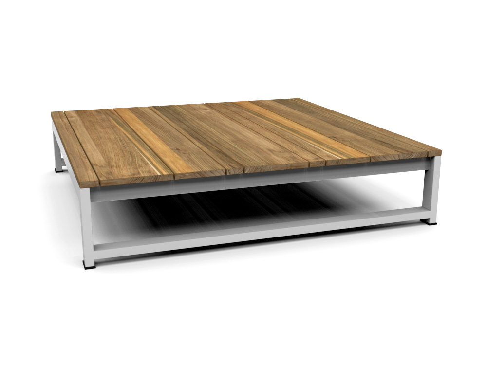 Modern Teak White Black Aluminum Coffee Table Contract
