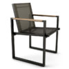 Bermudafied modern outdoor white black teak arm insert  Dining Arm Chair Batyline