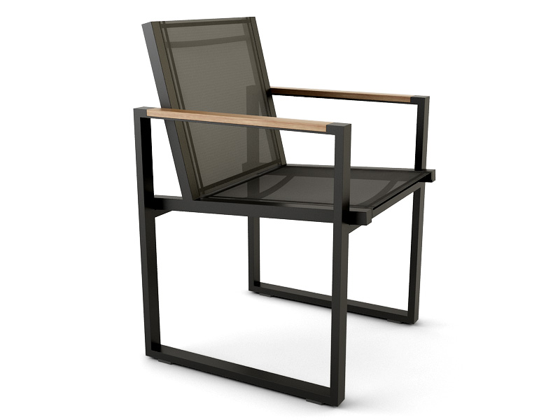Modern Teak Aluminum Ferrari Batyline Dining Chair Arm