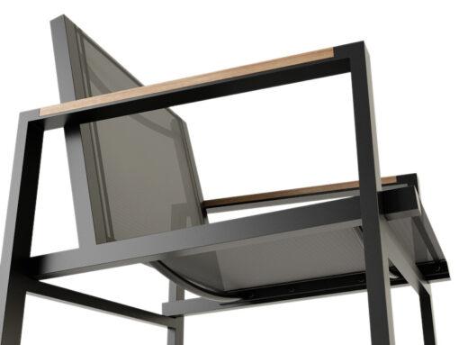 Bermudafied-modern outdoor white black teak arm insert-Dining-Arm-Chair-Batyline--3