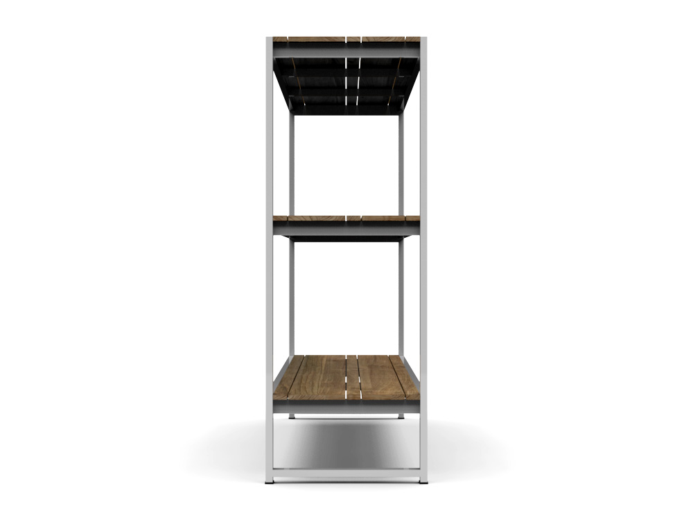 Bermudafied Modern Teak White Black Outdoor Storage Shelves Decor Rack 4