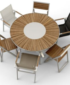Modern Round Stainless Steel Teak Dining Table