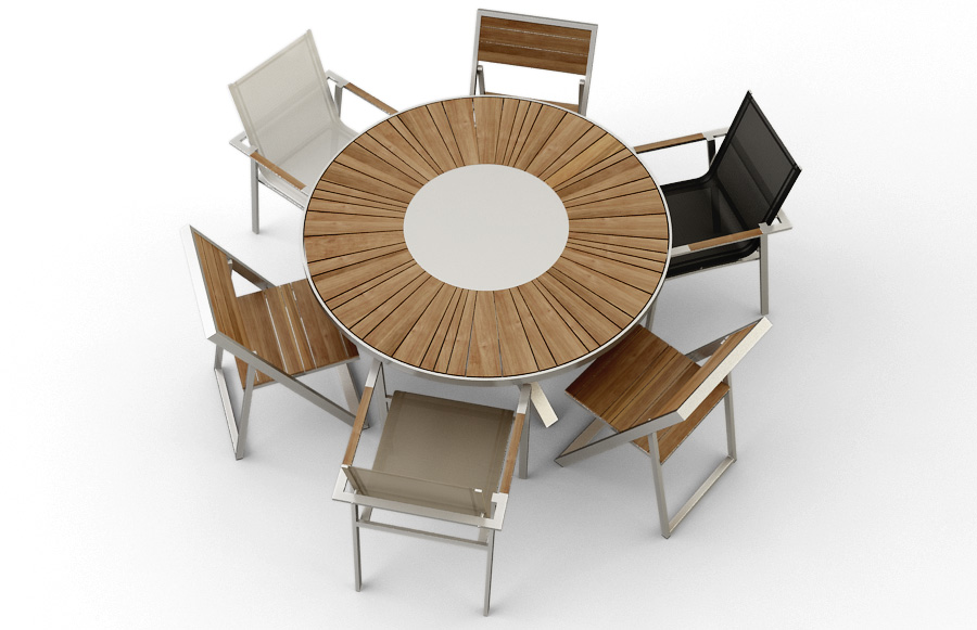 Modern Round Stainless Steel Teak Dining Table Outdoor