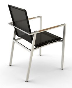 Modern Stainless Steel Teak Batyline Dining Chair