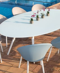 Modern White Tempered Glass Stainless Steel Dinning Table