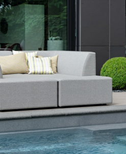 Modern Grey Aluminum Outdoor Daybed Loveseat