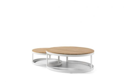 Dream coffee table round white teak round modern outdoor contract hospitality hotel restuarant beach club house miami fl hamptons ny los angeles ca