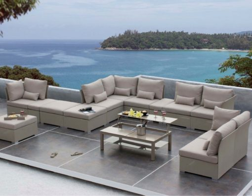 Elle contract outdoor all weather textilene taupe outdoor living sectional modular sofa hotel restaurant