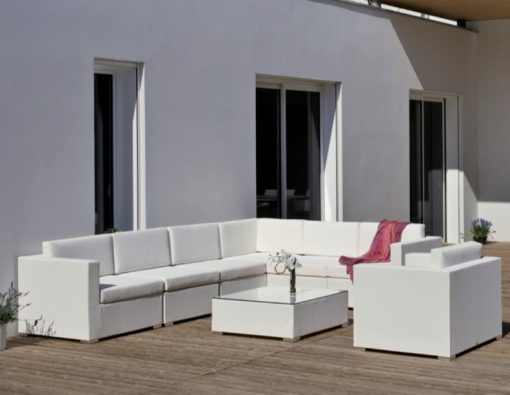 Elsa contract outdoor all weather textilene pure white outdoor sectional sofa hotel restaurant