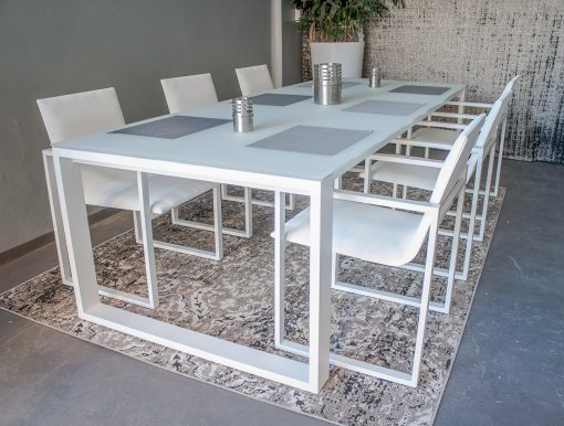Firm modern indoor outdoor white extendable dining table sling textilene chair contract hospitality hotel trade