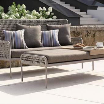 Modern Powder Coated Aluminum Rope Outdoor 3 Seater Sofa