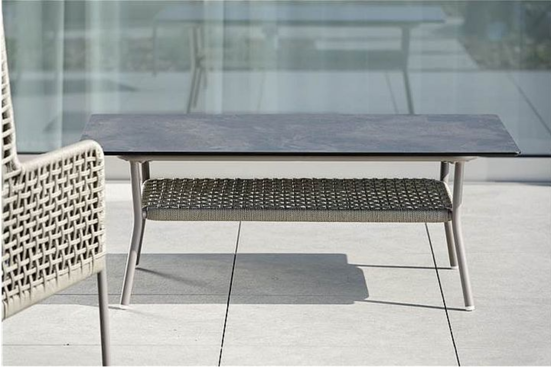 Contemporary Powder Coated Aluminum Rope Outdoor Coffee Table
