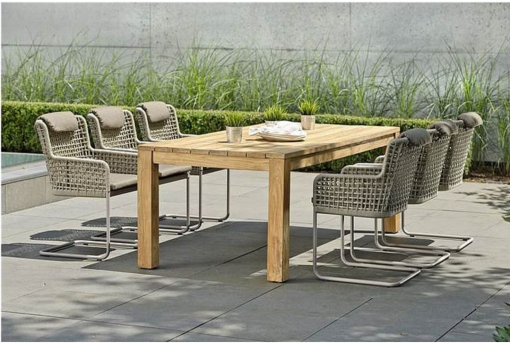 agreta dining cantilever champagne chair contemporary outdoor furniture residential Hamptons Greenwich
