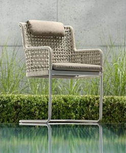 Modern Powder Coated Aluminum Rope Outdoor Dining Chair