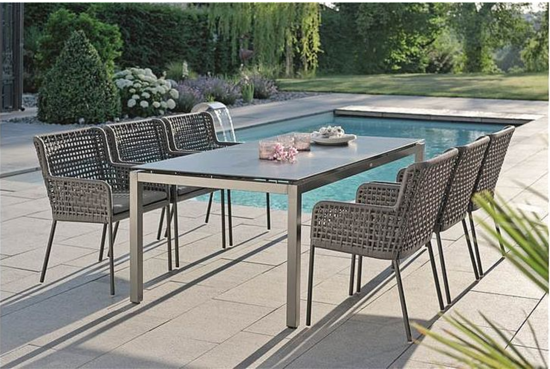 Contemporary Powder Coated Aluminum Rope Outdoor Dining Chair Luxury 5 Star